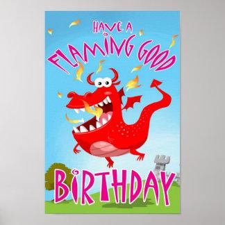 Flaming Good Birthday Poster