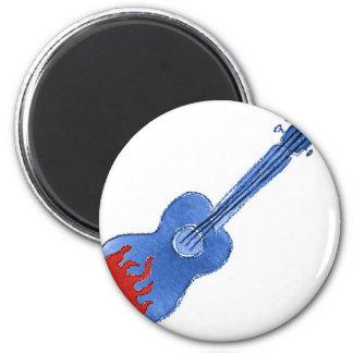 flaming guitar 6 cm round magnet