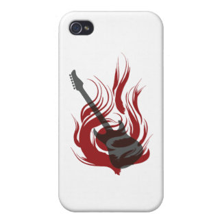 Flaming Guitar Cover For iPhone 4