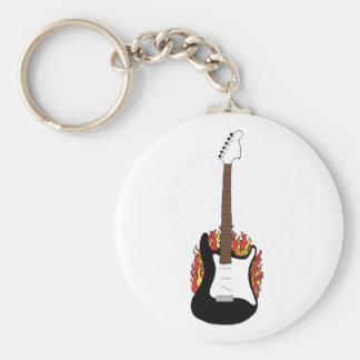 Flaming Guitar Key Ring