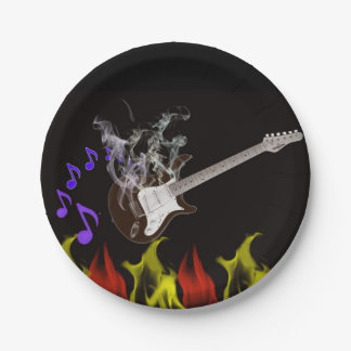 Flaming Guitar Paper Plates