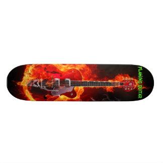 flaming guitar custom skateboard
