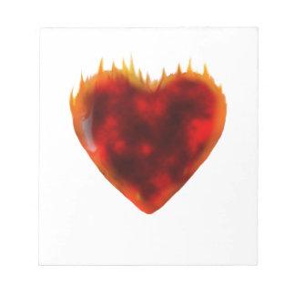 Flaming Heart Notepad
