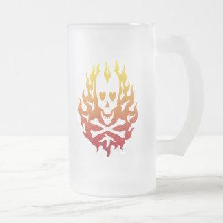 Flaming Heart Skull Halloween Mug