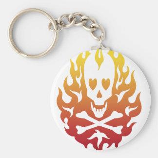 Flaming Heart Skull Keychain