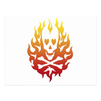 Flaming Heart Skull Post Cards