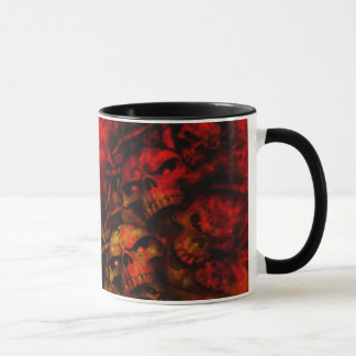 Flaming Hell Gothic Skulls Art Mug