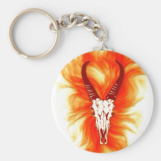 'Flaming Horned Bull Skull' Design Basic Round Button Key Ring