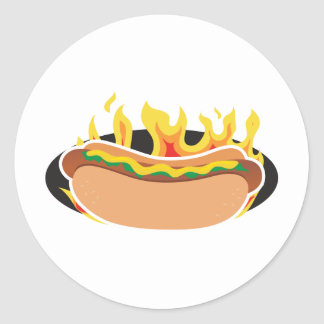 Flaming Hot Dog Round Sticker
