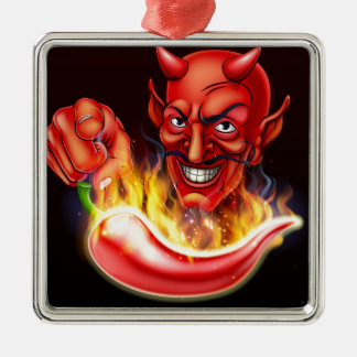 Flaming Hot Pepper and Pointing Devil Christmas Ornament