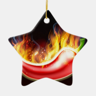 Flaming Hot Red Chilli Pepper Ceramic Star Decoration