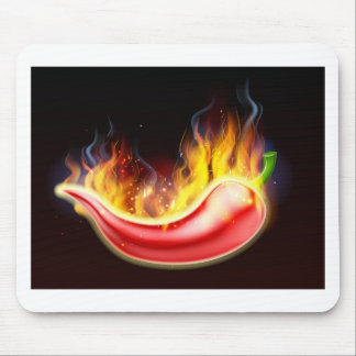 Flaming Hot Red Chilli Pepper Mouse Pad