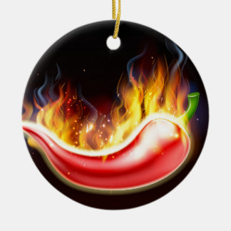 Flaming Hot Red Chilli Pepper Round Ceramic Decoration