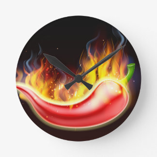 Flaming Hot Red Chilli Pepper Round Clock