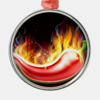 Flaming Hot Red Chilli Pepper Silver-Colored Round Decoration