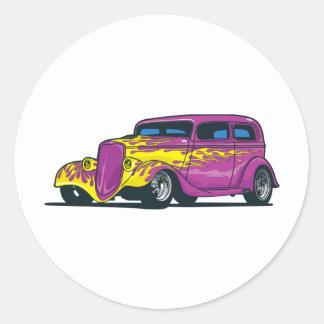 Flaming Hot Rod Classic Round Sticker
