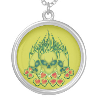 Flaming Irish Skulls Personalized Necklace