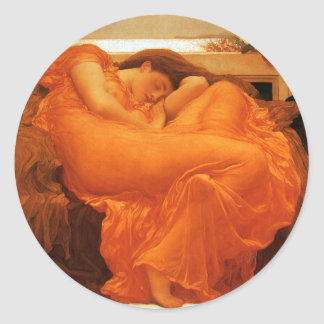 Flaming June Frederic Leighton Fine Art Classic Round Sticker
