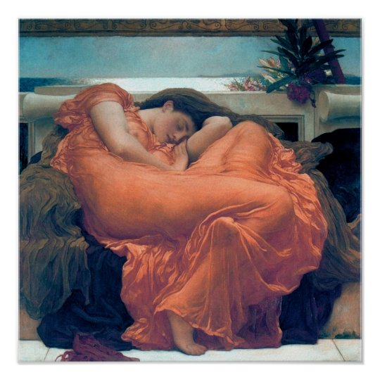 Flaming June Woman orange dress Poster