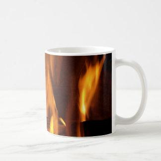 Flaming Log Coffee Mugs