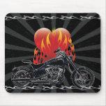Flaming Love Biker Mousepad