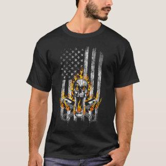 Flaming Mechanic Skull and Pistons American Flag T-Shirt