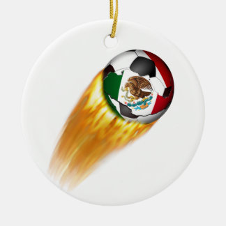 Flaming  Mexico Soccer Ball Christmas Ornament
