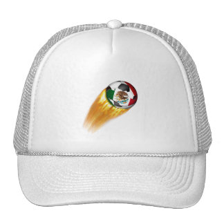 Flaming  Mexico Soccer Ball Mesh Hats