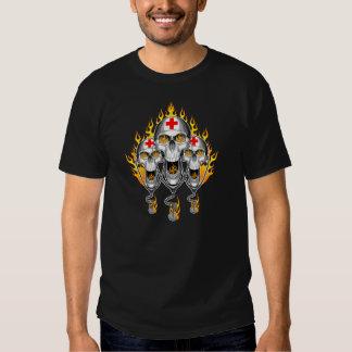Flaming Nurse Skulls T-shirts