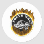 Flaming NWCo products Classic Round Sticker