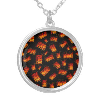 Flaming oil barrels necklace