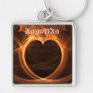 Flaming Orange Fractal Heart Design Keepsake Silver-Colored Square Key Ring