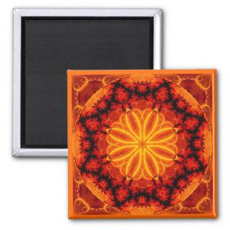 Flaming Orange Kaleidoscope Magnet