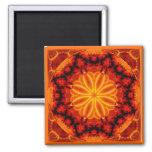 Flaming Orange Kaleidoscope Square Magnet