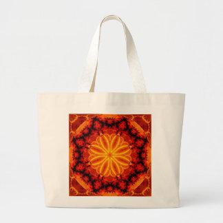 Flaming Orange Kaleidoscope Tote Bags