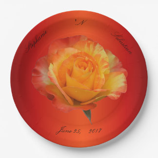 Flaming Orange N Yellow Exquisite Rose Paper Plate