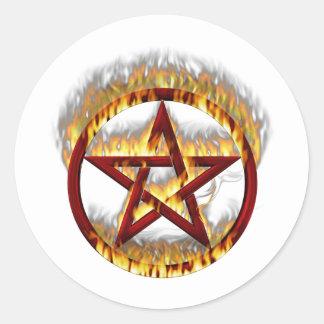 Flaming Pentagram Classic Round Sticker
