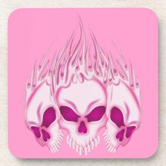 Flaming Pink Skulls Drink Coasters