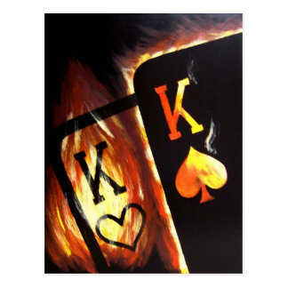 Flaming Pocket Kings Postcard Poker Print Cowboys