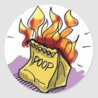Flaming Poo Round Sticker