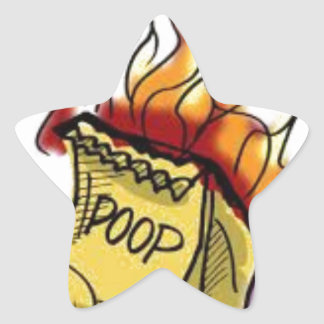 Flaming Poo Star Sticker