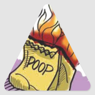 Flaming Poo Triangle Sticker
