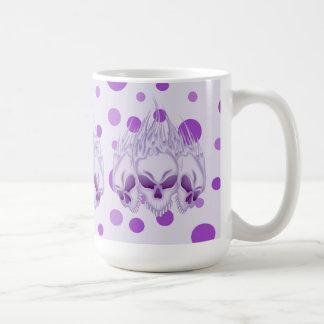 Flaming Purple Skulls Basic White Mug