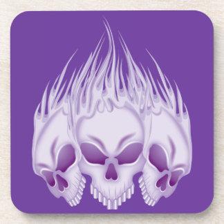 Flaming Purple Skulls Beverage Coasters