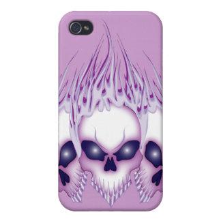 Flaming Purple Skulls iPhone 4 Cover