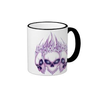 Flaming Purple Skulls Ringer Mug