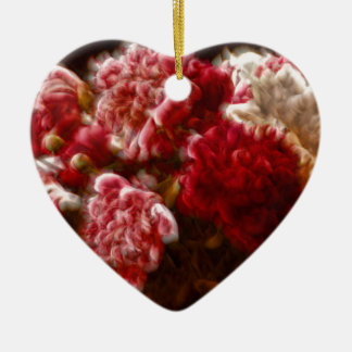 Flaming Red Peony Flower Bouquet Ceramic Heart Decoration