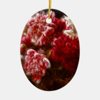 Flaming Red Peony Flower Bouquet Ceramic Oval Decoration