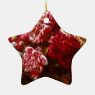 Flaming Red Peony Flower Bouquet Ceramic Star Decoration