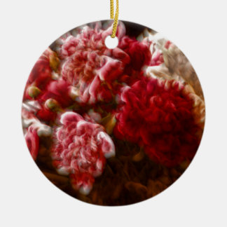 Flaming Red Peony Flower Bouquet Christmas Ornament